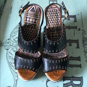 JESSICA SIMPSON Black Geno Studded Wedge Heels